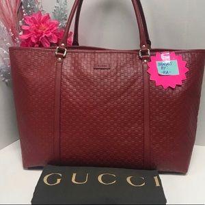 GUCCI GG Microguccissima Rosso Red Tote Bag Purse